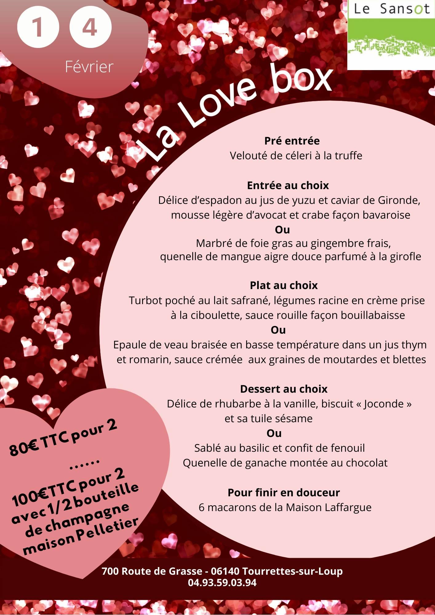 Le Sansot Menu Saint Valentin